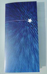 Vorderseite des Weihnachts-Anstatt-Billets zeigt einen Stern am Nachthimmel.