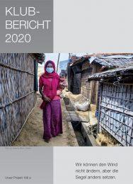 Titelfoto Klubbericht 2020, Frau mit Maske und Baby auf dem Arm